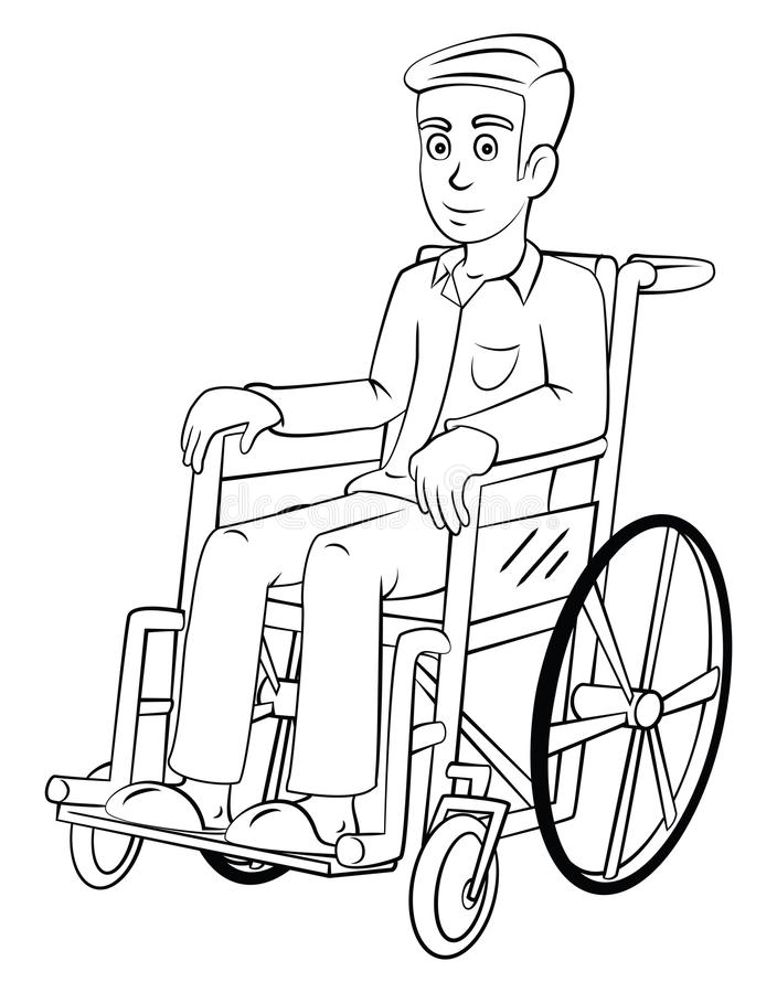 Man With Wheelchair stock vector. Illustration of wheel ...
