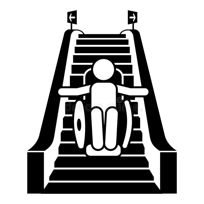 Man in wheelchair on escalator icon, simple style royalty free illustration