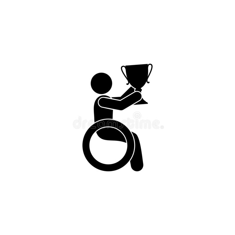 Man in a wheelchair holds a cup in his hands, isolated disabled person icon with a prize vector illustration