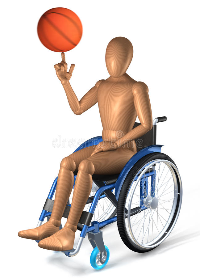 Man in wheelchair playing with basketball