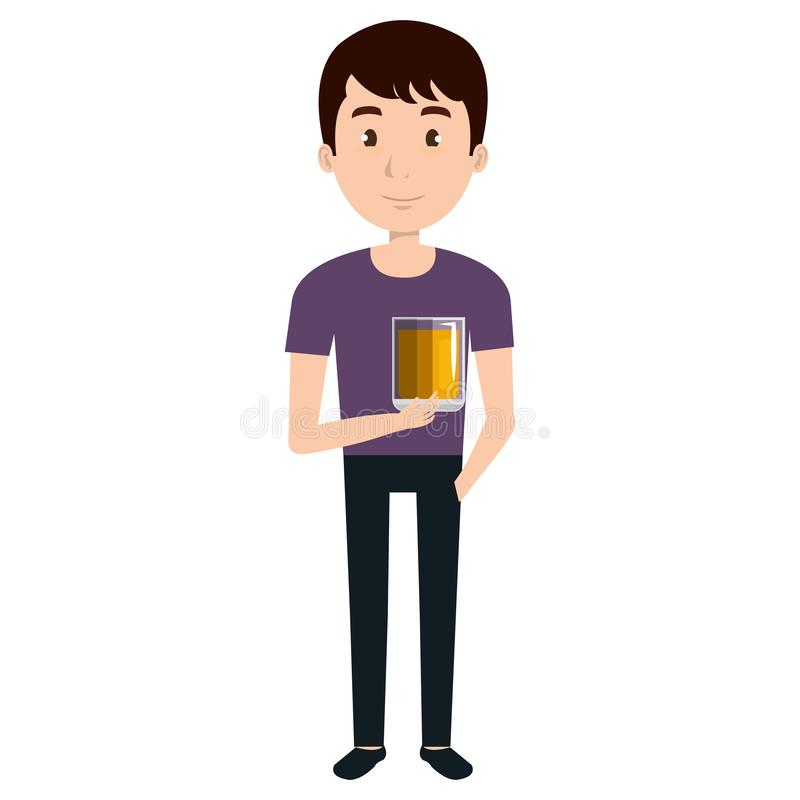 Man with whiskey glass drink. Vector illustration design vector illustration
