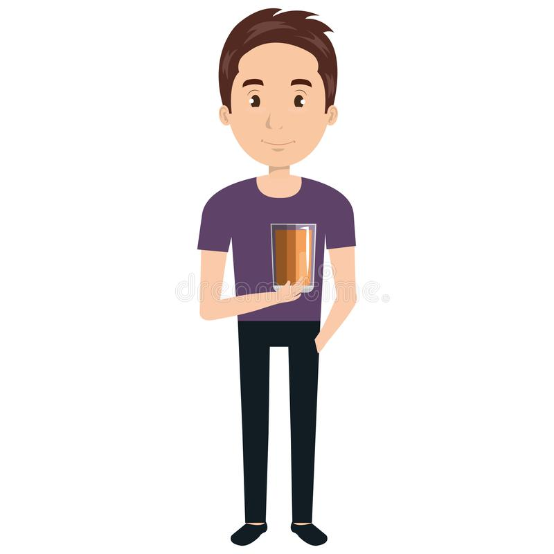 Man with whiskey glass drink. Vector illustration design stock illustration