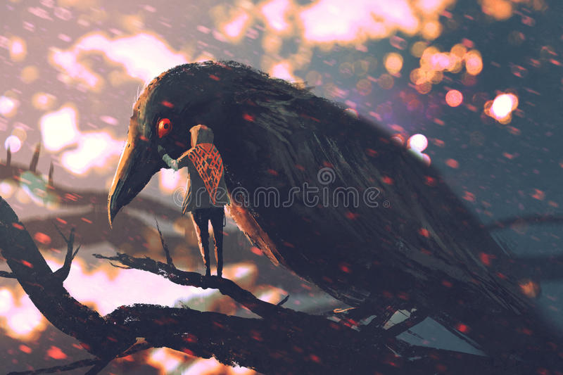 The man whispering the big crow on a tree branch vector illustration