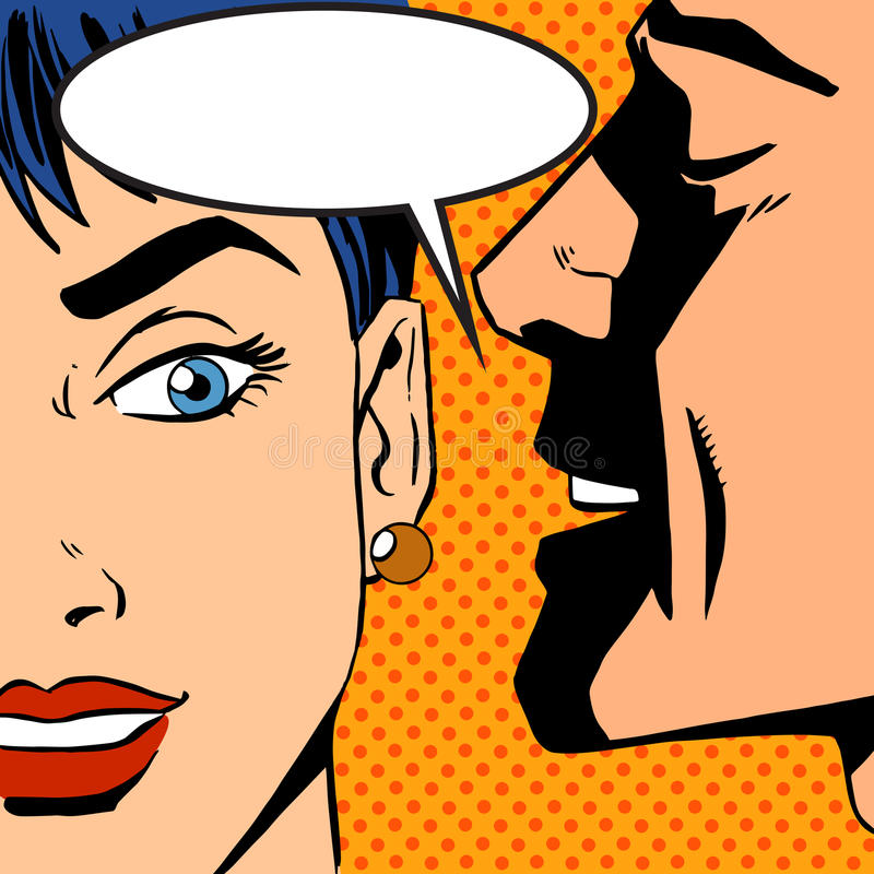 Man whispers girl Pop art vintage comic royalty free illustration