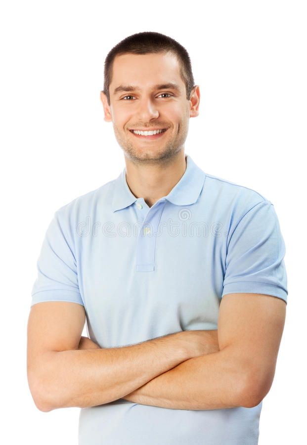 Man on white stock images