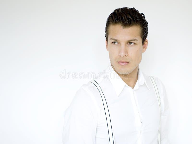 Man in white stock photo