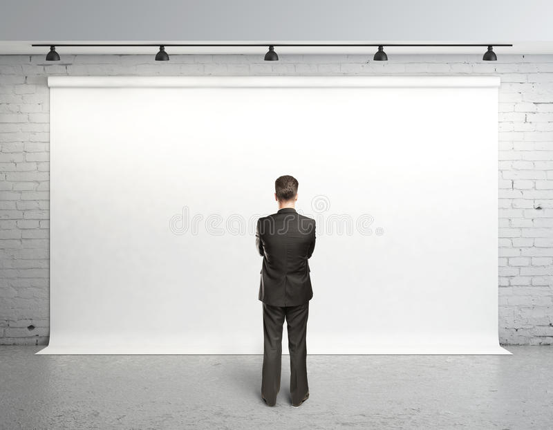 Download Man and white backdrop stock photo. Image of placard - 27988480