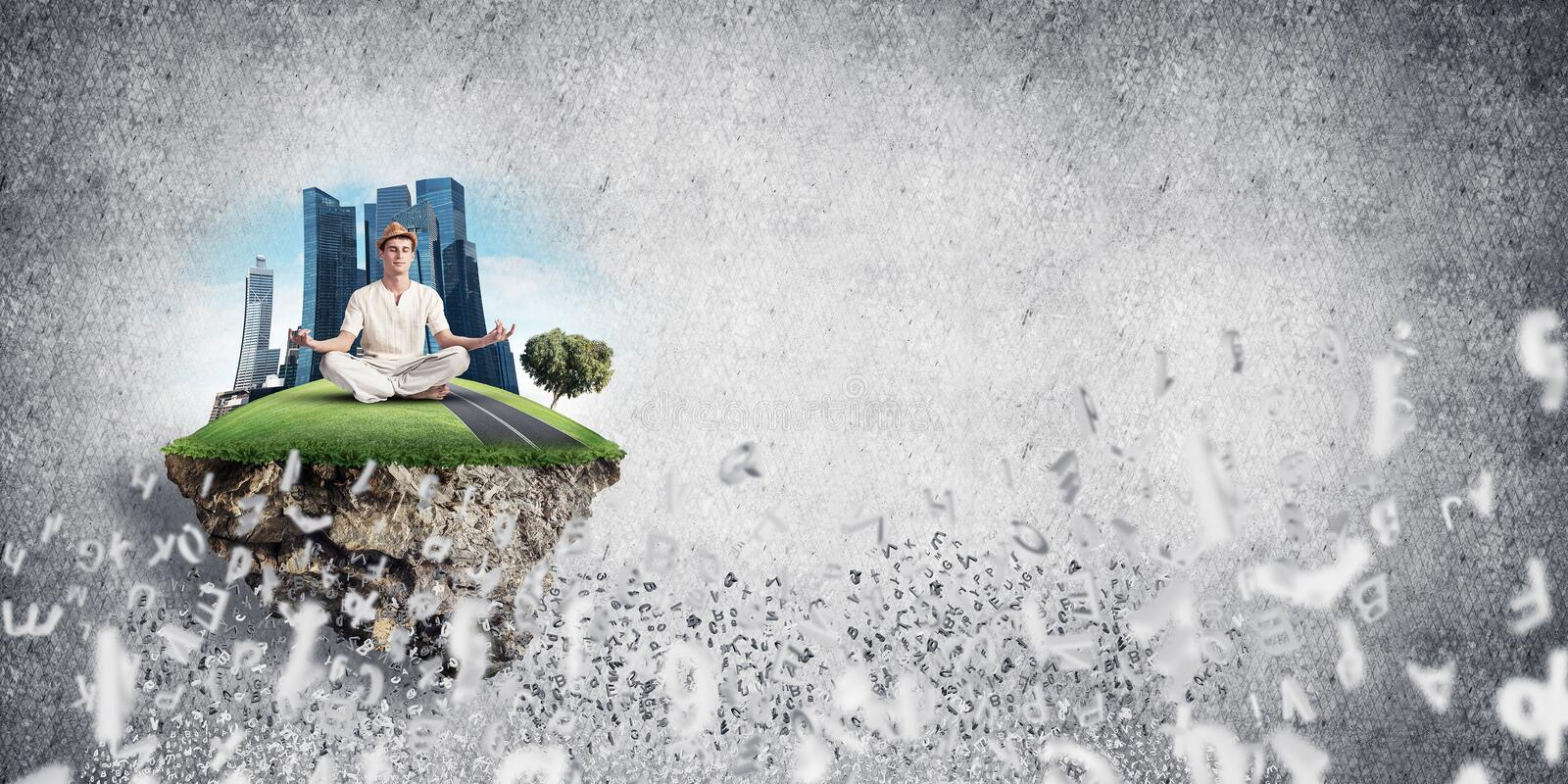 Young man keeping mind conscious. Man in white clothing keeping eyes closed and looking concentrated while meditating on island in the air among flying letters vector illustration