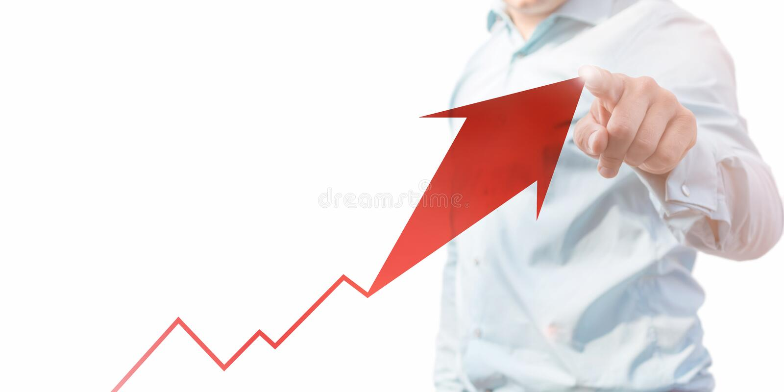 Man points to upward arrow as a template on white background stock photography