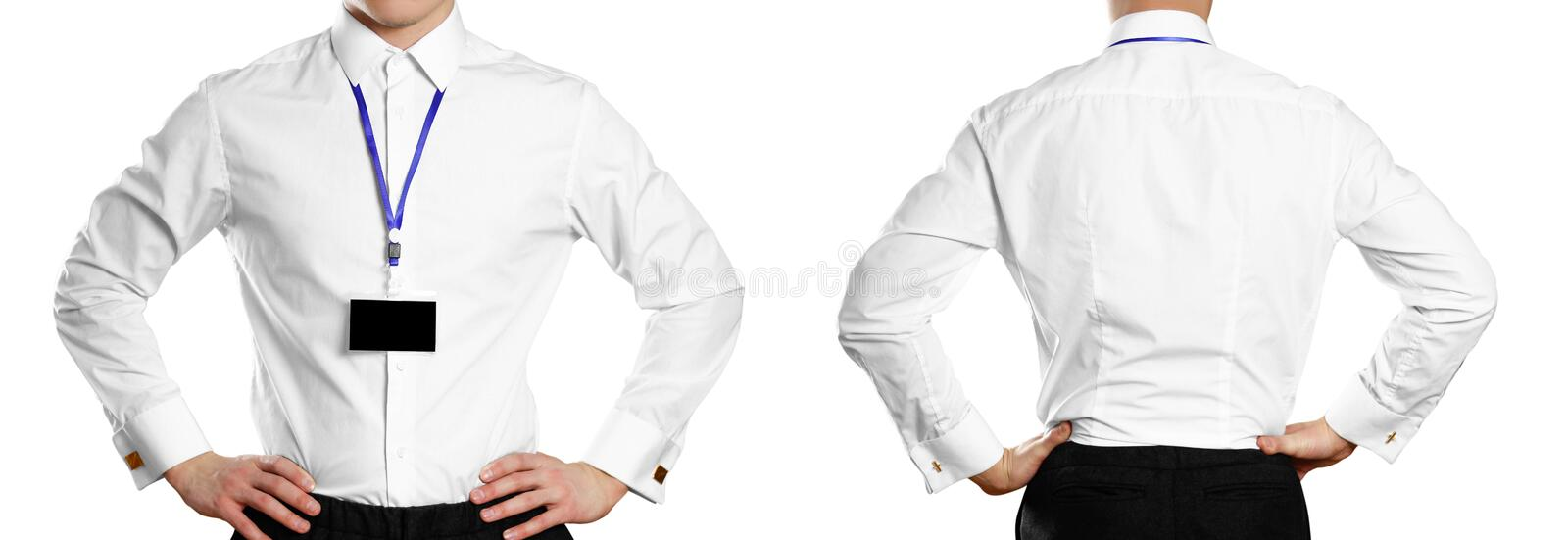 A man in a white shirt with a badge. Front and back. Close up. Isolated on white background royalty free stock image