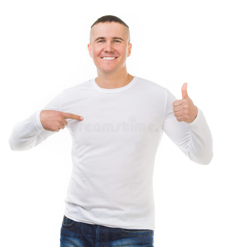 Man in a white shirt with long sleeves royalty free stock images