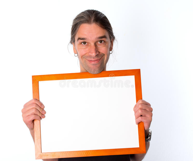 Man with white signboard stock images