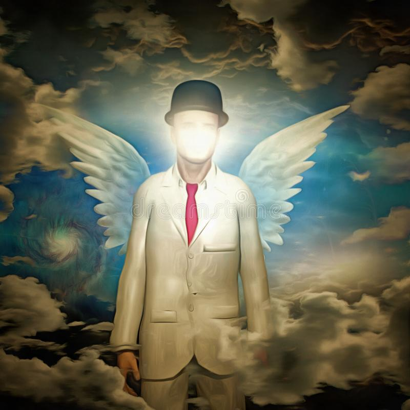Angel in white suit. Man in white suit with angel wings. Human elements were created with 3D software and are not from any actual human likenesses stock illustration