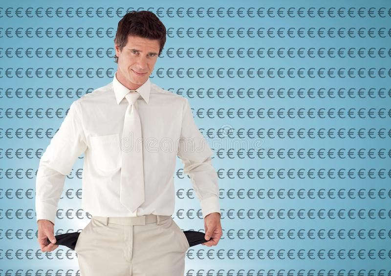 Man with white suit and with empty pockets. Blue background with euro. Digital composite of man with white suit and with empty pockets. Blue background with euro royalty free stock photo