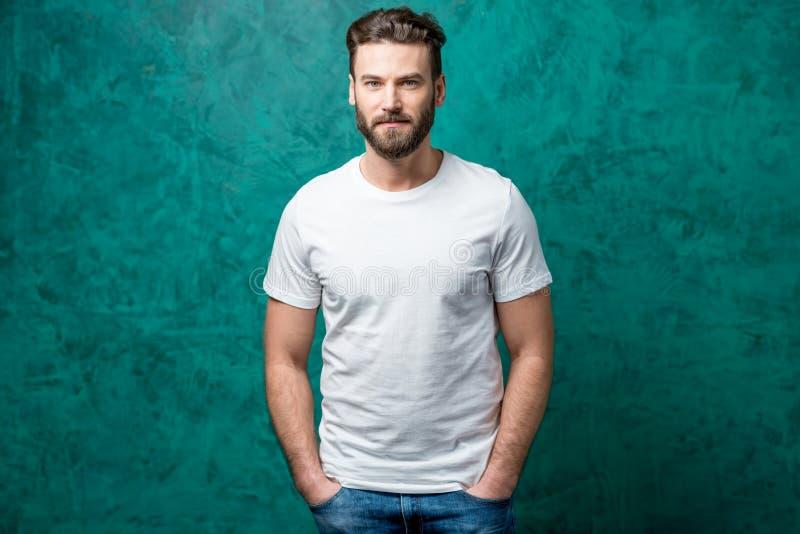 Man in white t-shirt royalty free stock photos