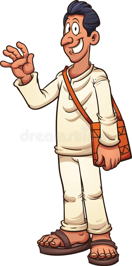 Man in white. Tan man in white clothes and sandals. Vector clip art illustration with simple gradients. All in a single layer vector illustration