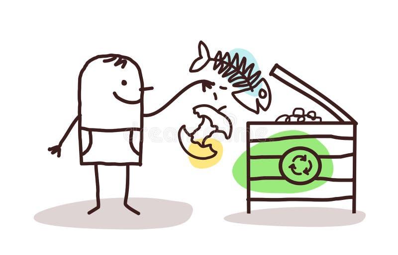 Man who makes organic compost. Cartoon man who makes organic compost stock illustration