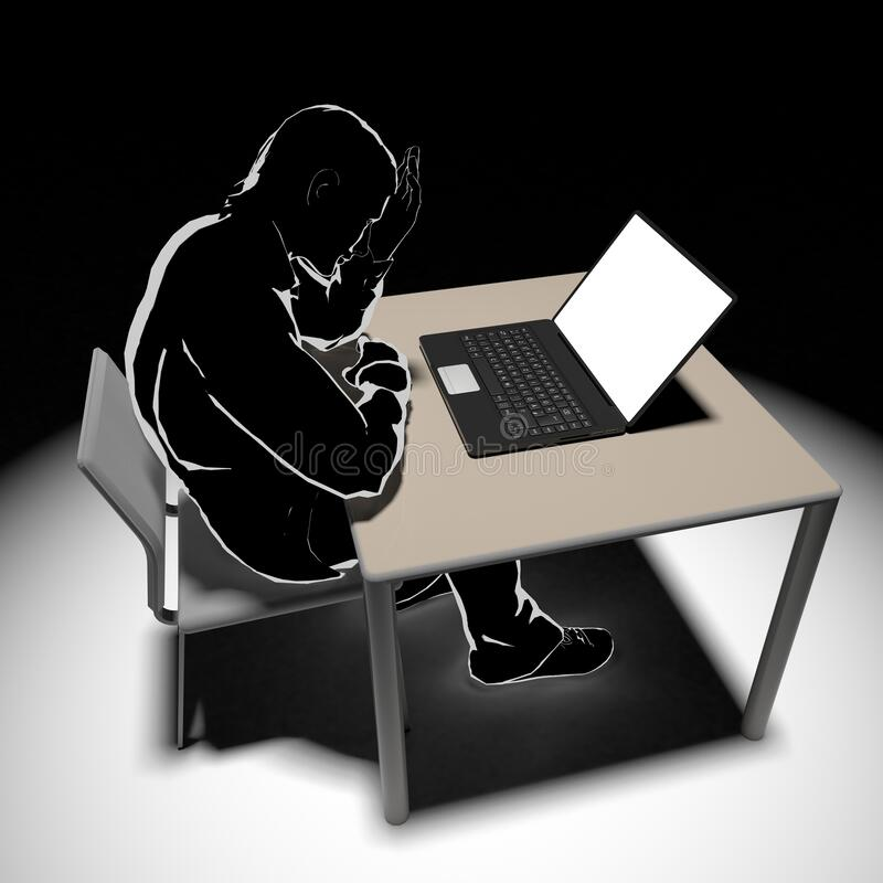 Find bad information. A depressed man. The person writing. 3D illustration vector illustration