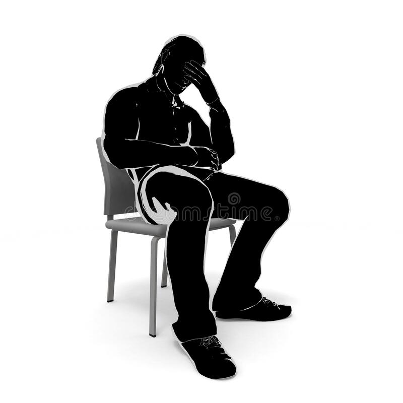 A worried man. A man holding his head. 3D illustration stock illustration