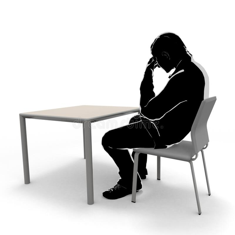 Thinking man. A person sitting on a chair. A man who is not well. 3D illustration stock illustration