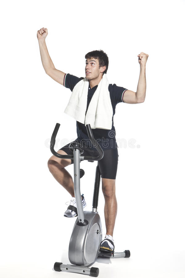 Man Who Pedal Stationary Bikes Royalty Free Stock Photo