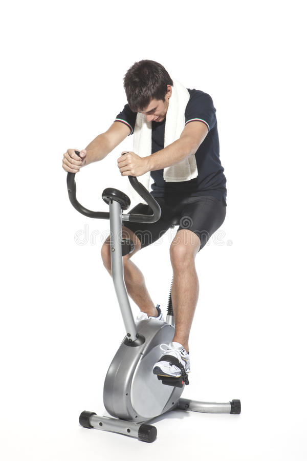 Download Man Who Pedal Stationary Bikes Stock Image - Image: 11013529