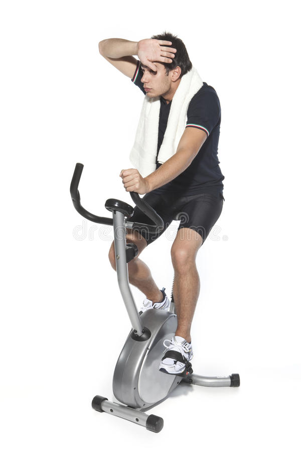 Download Man Who Pedal Stationary Bikes Stock Image - Image: 11013605