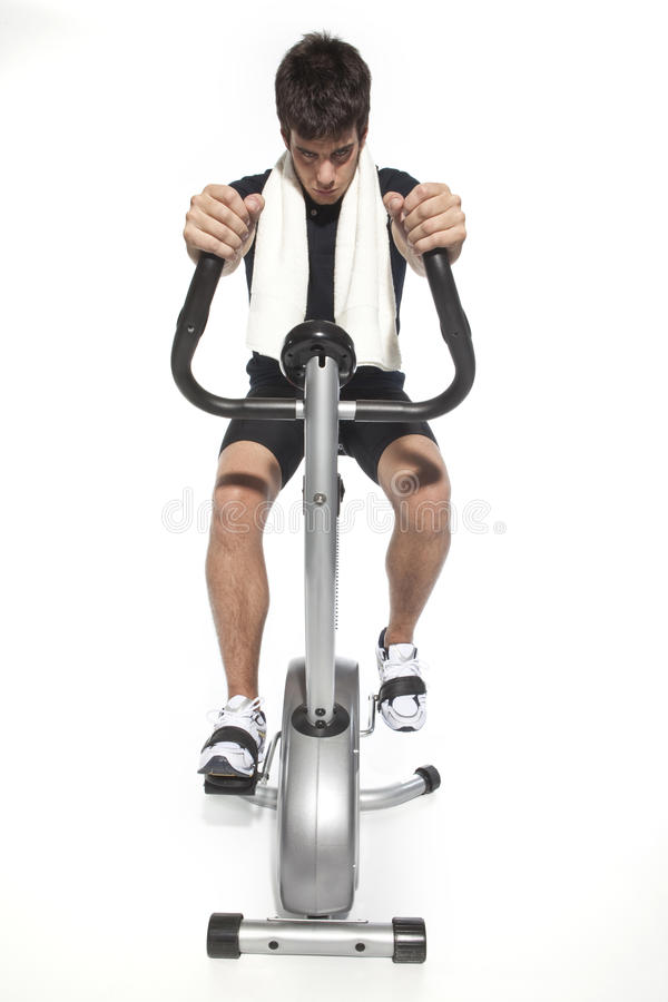 Download Man Who Pedal Stationary Bikes Stock Image - Image of athletic, fitness: 11013675