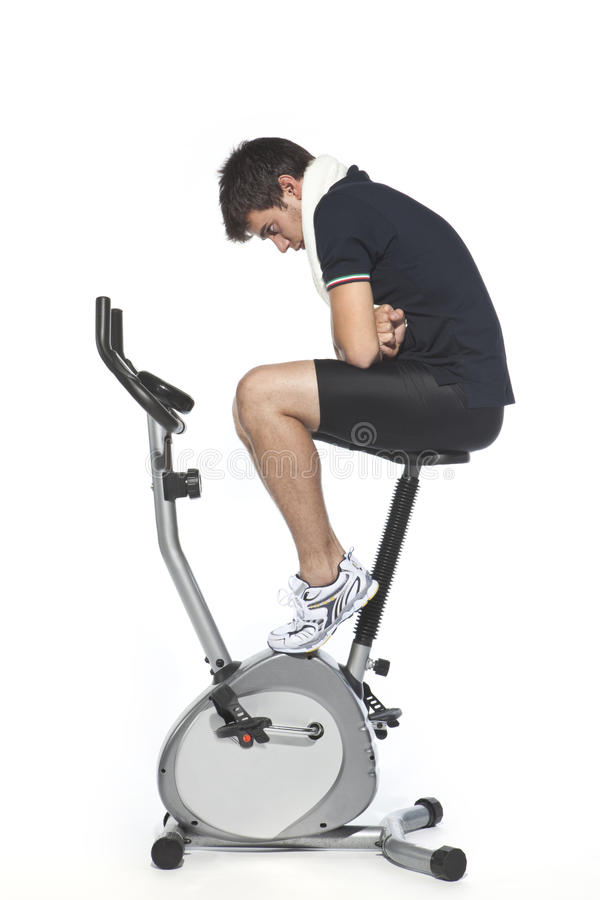 Download Man Who Pedal Stationary Bikes Stock Image - Image: 11013971