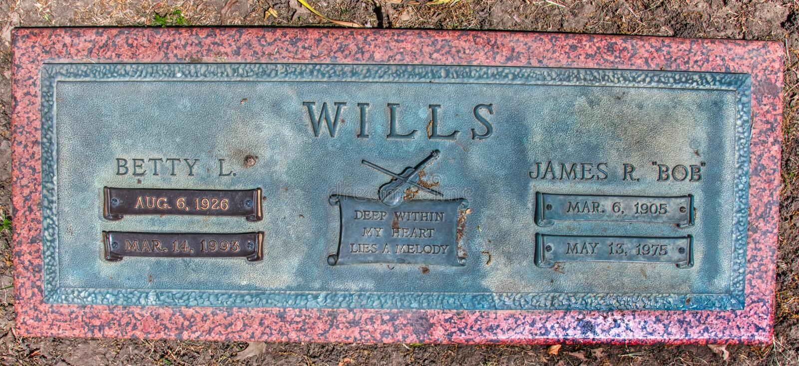 Tombstone Close Up of Wester Swing Music Bob Wills in Tulsa Oklahoma. The man who put Wester Swing on the radio and perhaps Tulsa on the map, fiddler and singer stock photography