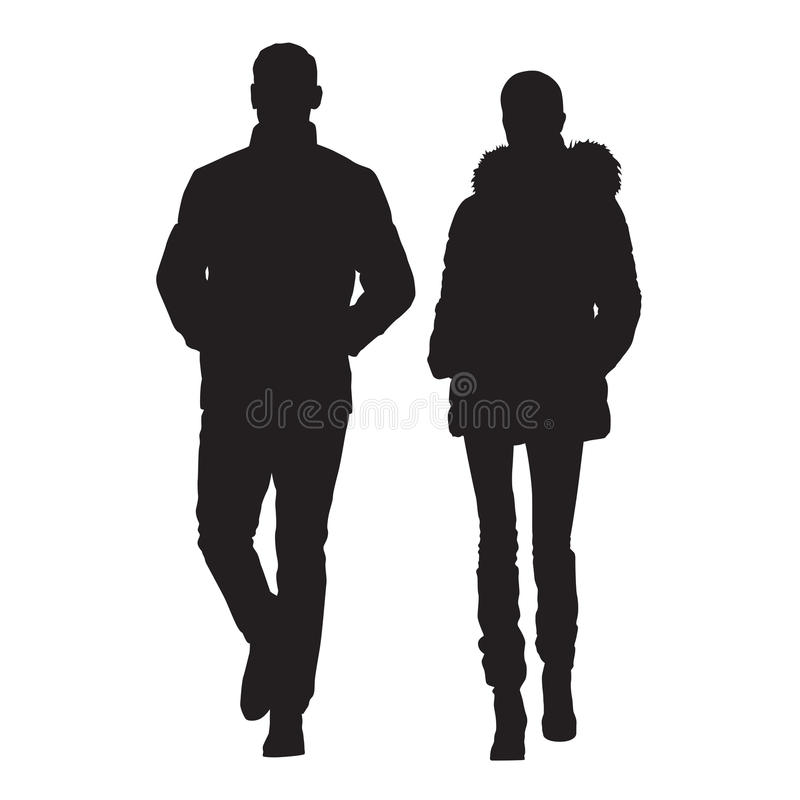 Man and wife are dressed in winter clothes. Walking people, young couple. Vector silhouettes royalty free illustration