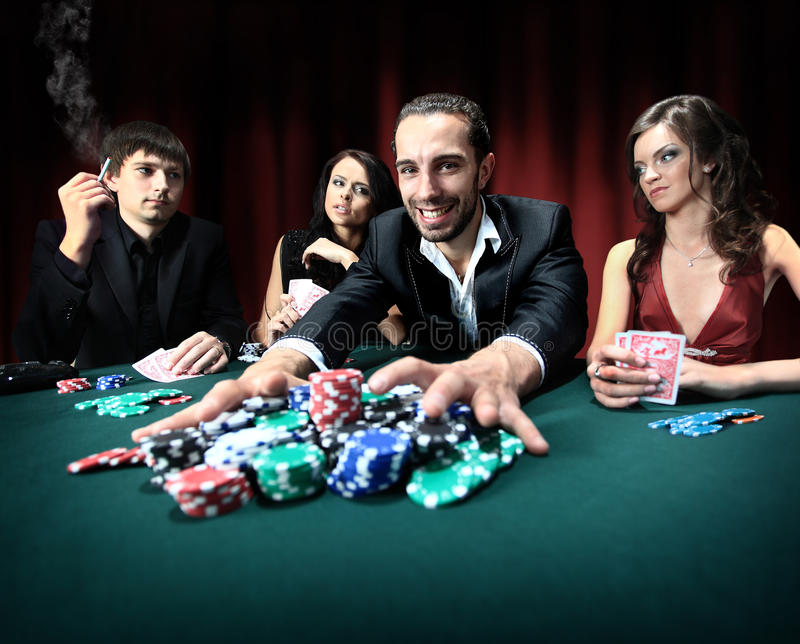 Man wins in the casino stock image