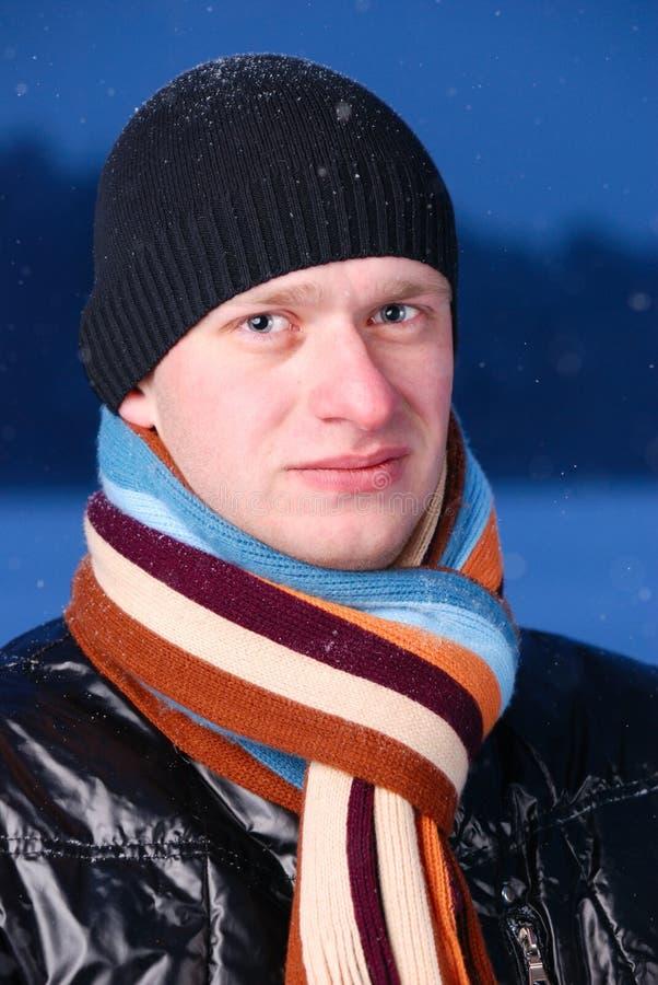 Man At Winter Evening Stock Photo