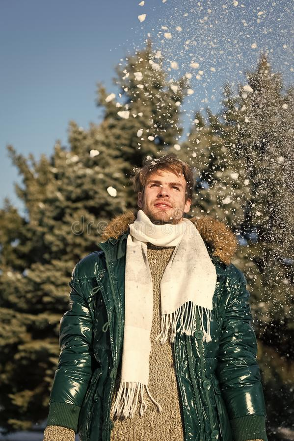 Man on winter holidays. Vacation and traveling. Man. It is cold outside. Forest in snow. Fresh air. Snowy weather stock images