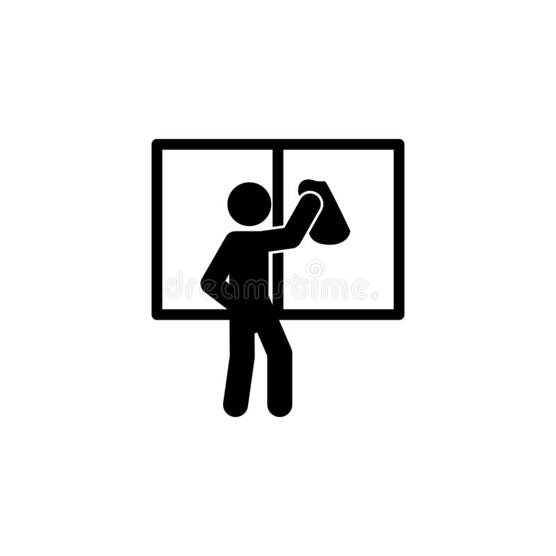 man wiping window icon. Element of man cleaning icon for mobile concept and web apps. Glyph man wiping window icon can be used for vector illustration