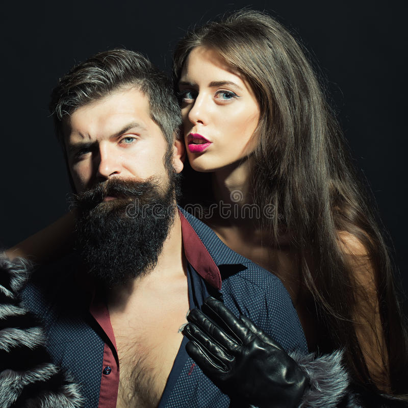 Free Man With Beard And Girl In Gloves Royalty Free Stock Photo - 61302175