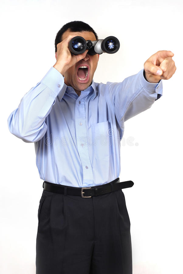 Free Man With Binoculars Royalty Free Stock Photos - 14811528