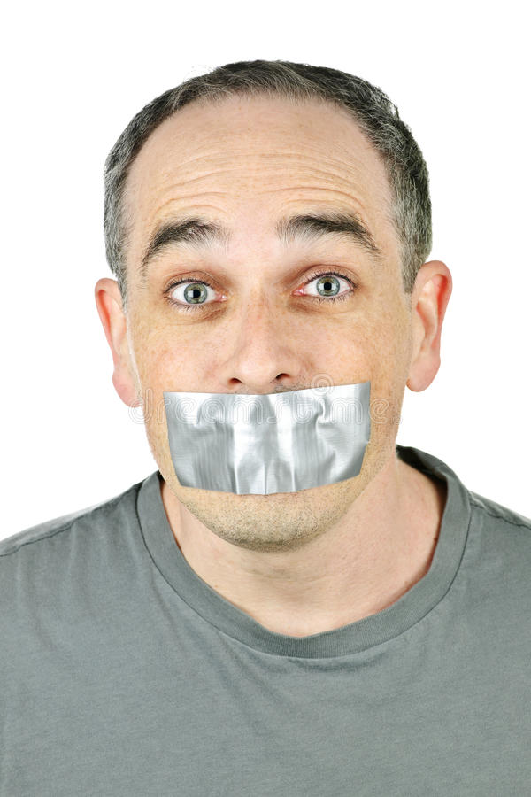 Free Man With Duct Tape On Mouth Royalty Free Stock Images - 14089399