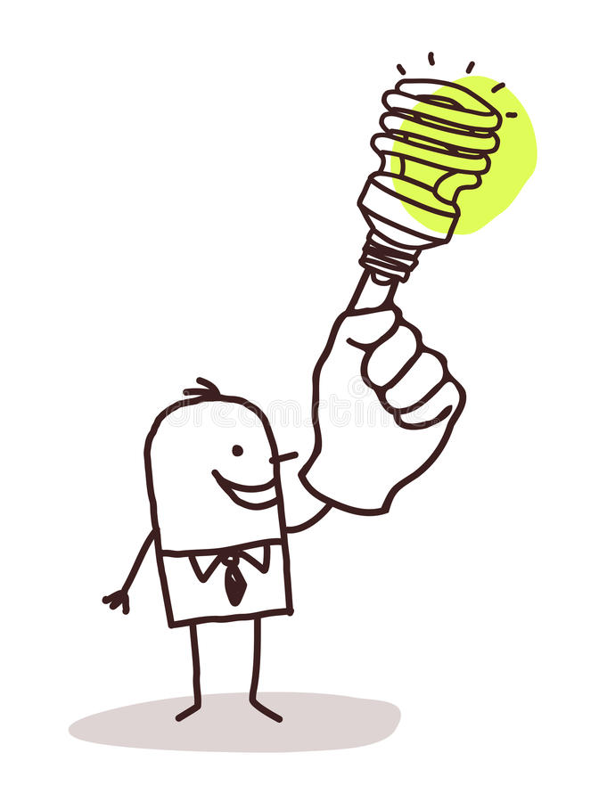 Free Man With Green Light Bulb On Finger Royalty Free Stock Images - 66605549