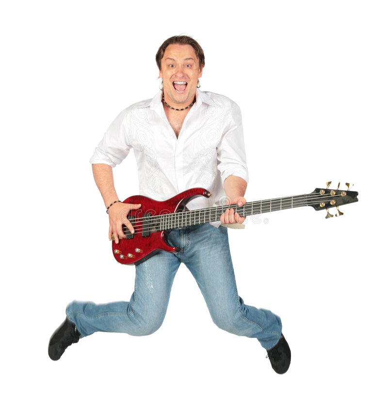 Free Man With Guitar Jumps Stock Image - 6371581
