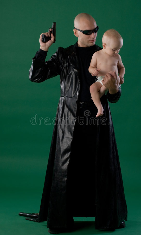 Free Man With Gun And Son Stock Photo - 3220210