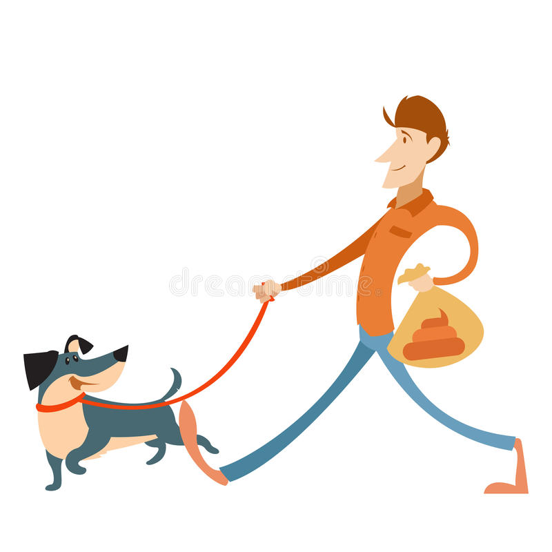 Free Man With Its Dog And A Bag For Gogs Poop Royalty Free Stock Photography - 82917867
