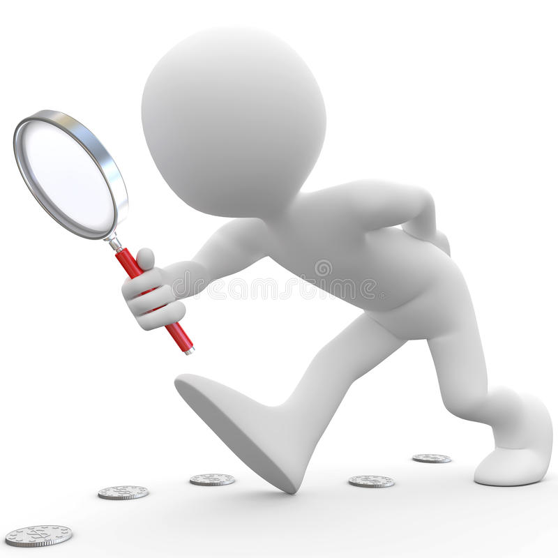 Free Man With Magnifying Glass Looking For Coins Stock Photo - 17275480