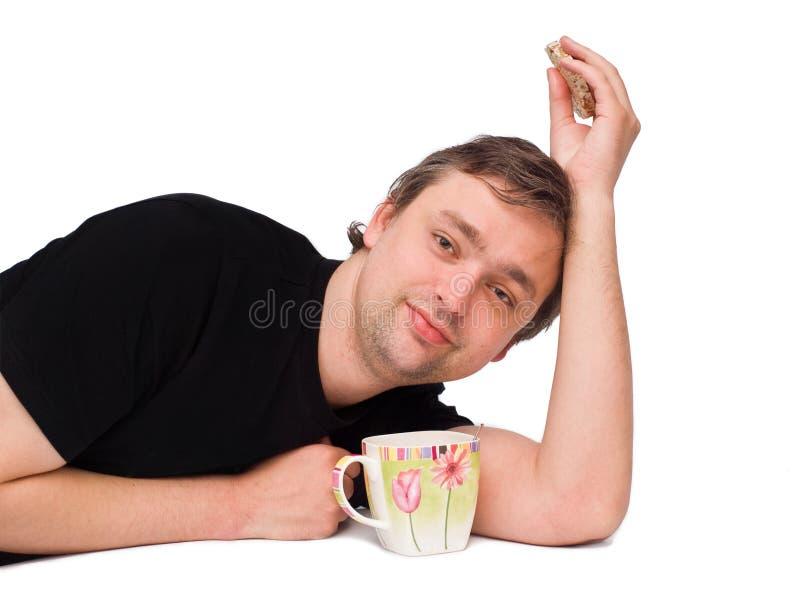 Man witn tea mug stock images