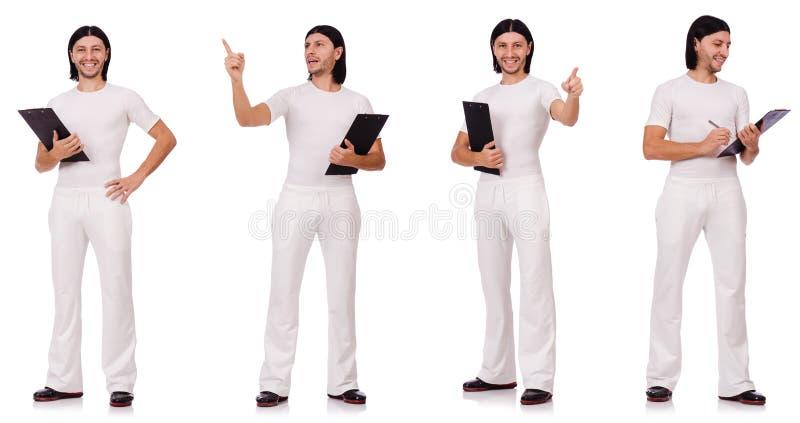 Man in witte die sportkleding op wit wordt geïsoleerd stock afbeeldingen