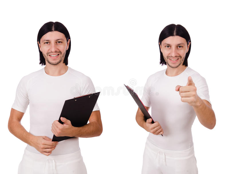 Man in witte die sportkleding op wit wordt geïsoleerd stock foto's
