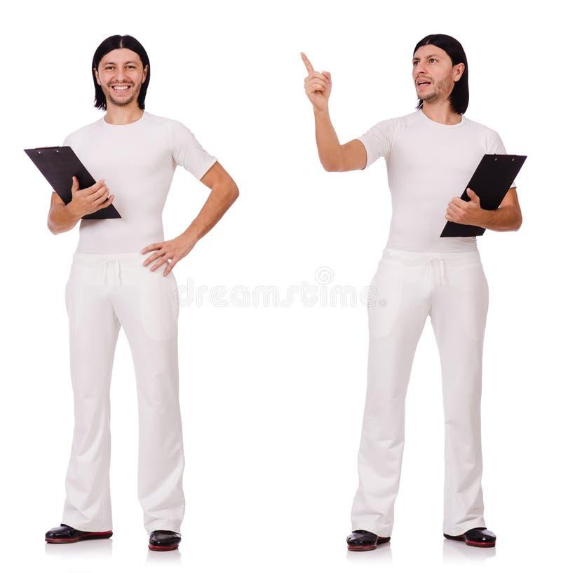 Man in witte die sportkleding op wit wordt geïsoleerd royalty-vrije stock afbeelding