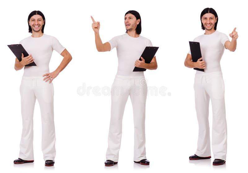 Man in witte die sportkleding op wit wordt geïsoleerd royalty-vrije stock foto