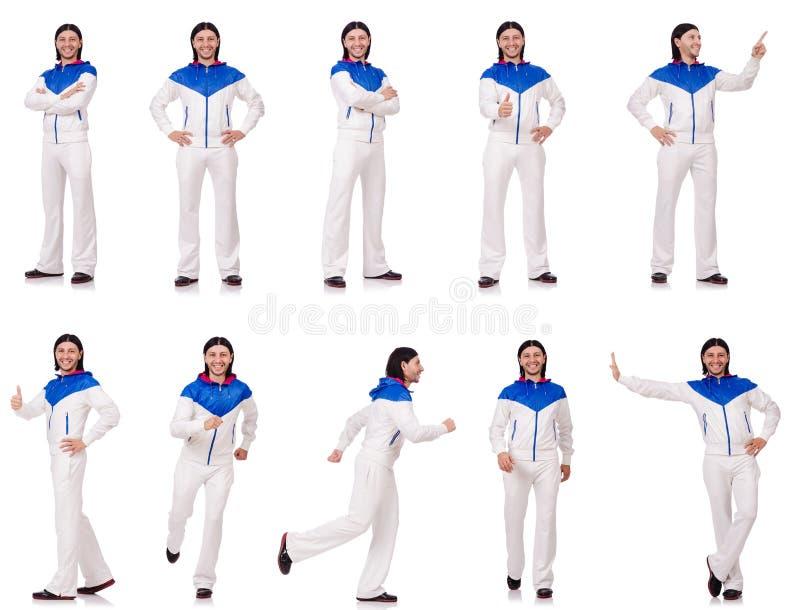 Man in witte sportkleding stock foto's