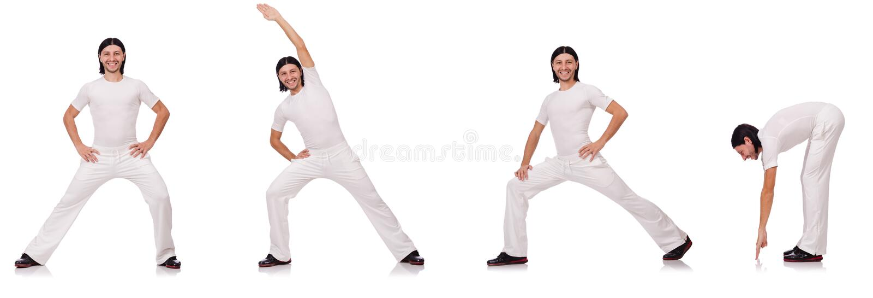 Man in witte sportkleding royalty-vrije stock afbeeldingen